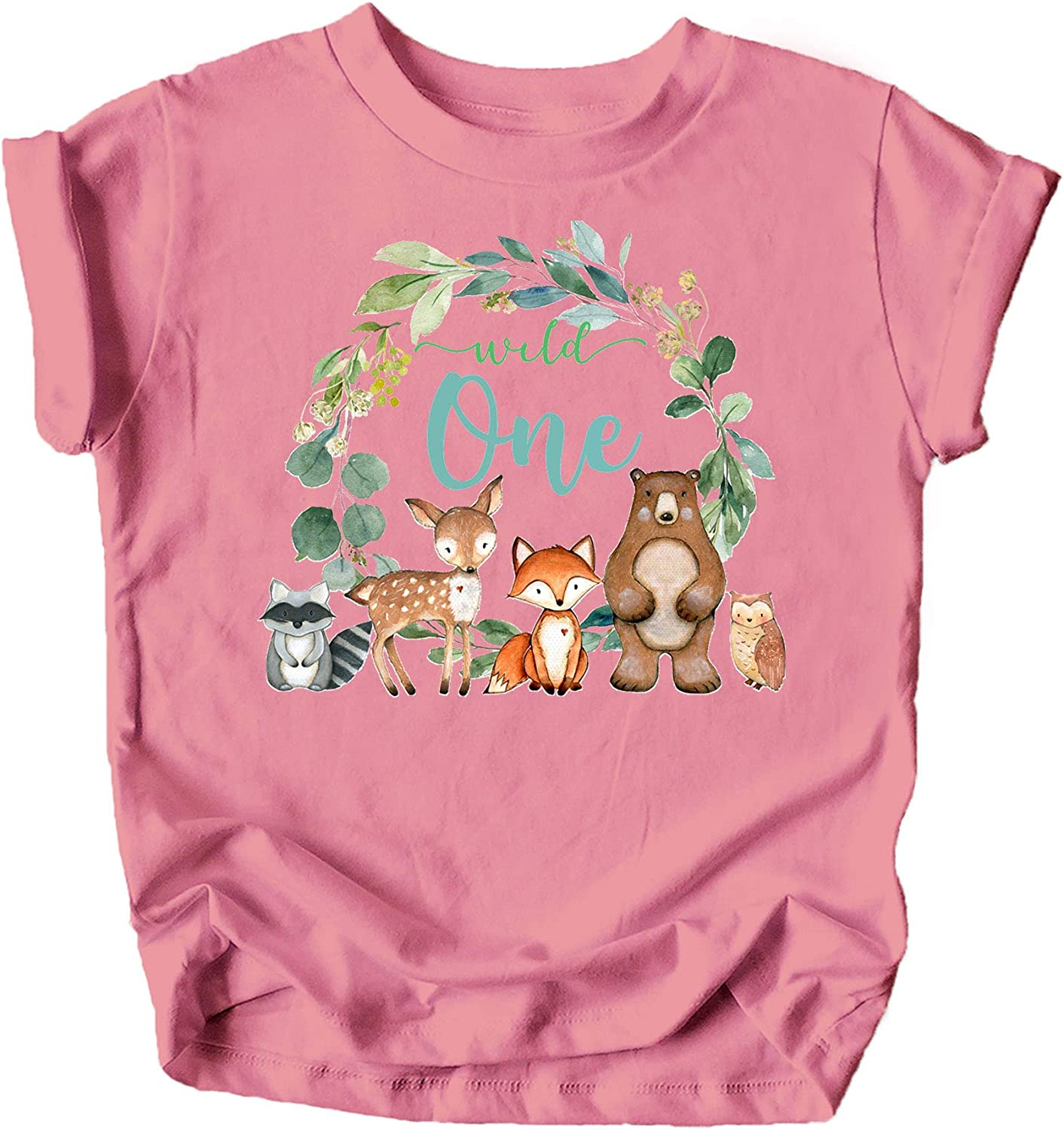 Wild One Wreath with Woodland Animals T-Shirts and Raglans for Baby Girls and Boys