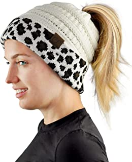 C.C BeanieTail Cable Knit Messy High Bun Ponytail Cuff Beanie Hat