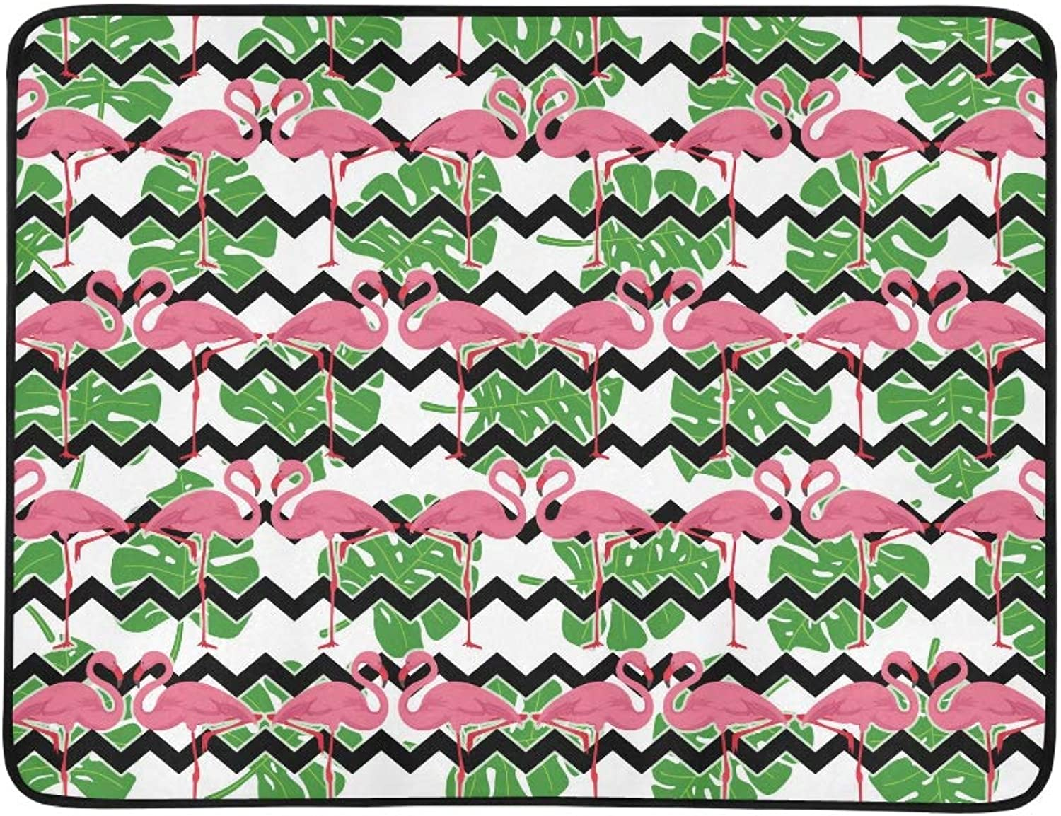 Black Leaves Flamingoes Tropical Chevron Pink Travel Outdoor
