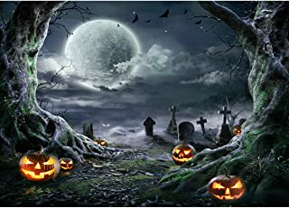 SJOLOON Halloween Backdrop for Photography Horror Night Background Scary Pumpkin Moon Backdrop for Party Decoration Suppli...