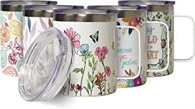 Simply Flowers Insulated Stainless Steel Coffee Mug with Lid, Double Wall Garden Lover Travel Friendly Mug with Handle