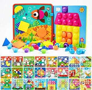 JoyGrow Button Art Toys Color and Geometry Shape 2 in 1 Matching Mosaic Pegboard Early Learning Educational Toy for Boys a...