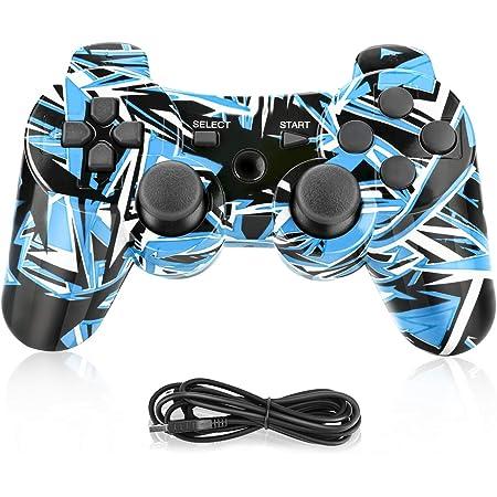 Powcan Bluetooth Senza Fili Controller di Gioco per PS3/PC Windows 7/8/ 9/10 Sostituzione per PS3 Controller, Doppia Vibrazione Gamepad (Blu)