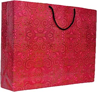 A&A Bags Printed Laminated 13x17x 4-inch Paper Bag with Floral Design (Multicolour) - Pack of 10