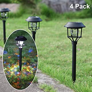 MAGGIFT Tall Solar Garden Lights Christmas Outdoor Decorations with Red, Blue, Green LEDs Rotate Ball, Solar Twinkle Fairy Lights for Pathway Landscape Decor, 4 Pack, 2 Modes (Multicolor/Flashing)
