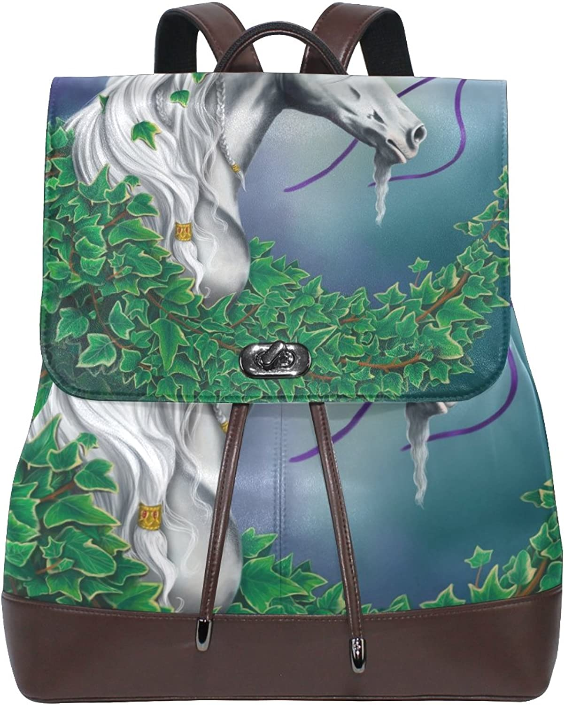 Imobaby Fashion Rainbow Unicorn PU Leather Women Girls Ladies Backpack Travel bag,Multi141