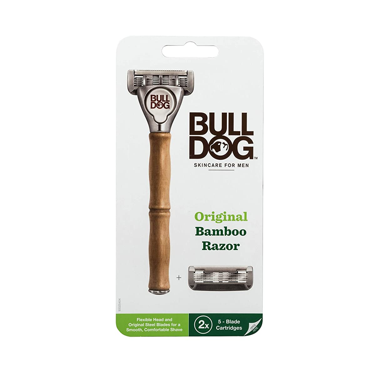 リス染色歩行者ブルドッグ Bulldog 5枚刃 オリジナルバンブーホルダー 水に強い竹製ハンドル 替刃 2コ付 男性カミソリ