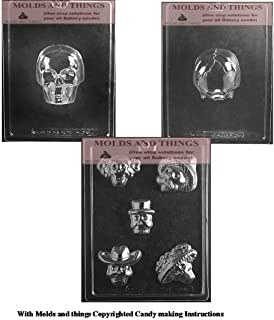 Cinco de Mayo Mexican Sugar Skull Day of The Dead Chocolate Candy Mold Chocolate Candy Mold & Medium 3D Skull Chocolate Candy Mold Halloween candy mold with copywrited molding Instructions