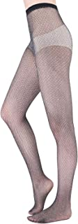 HeyUU Womens Hollow Out Fishnet Sheer Tights Golden/Silver Sparkling Patterned Pantyhose