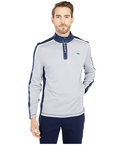 Lacoste Long Sleeve Color-Block Sleeve and Shoulder Sweatshirt (Silve Chine/Navy Blue/White) Men