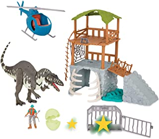Terra by Battat - Jungle Expedition Big Playset– Electronic Dinosaur Acrocanthosaurus & Helicopter with 2 Surprise Dinosau...