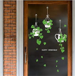 Muursticker Opknoping mand Potted Green Plants Schil, Verwijderbare DIY Zelfklevende Groene Muurstickers, Muur Art Muursch...