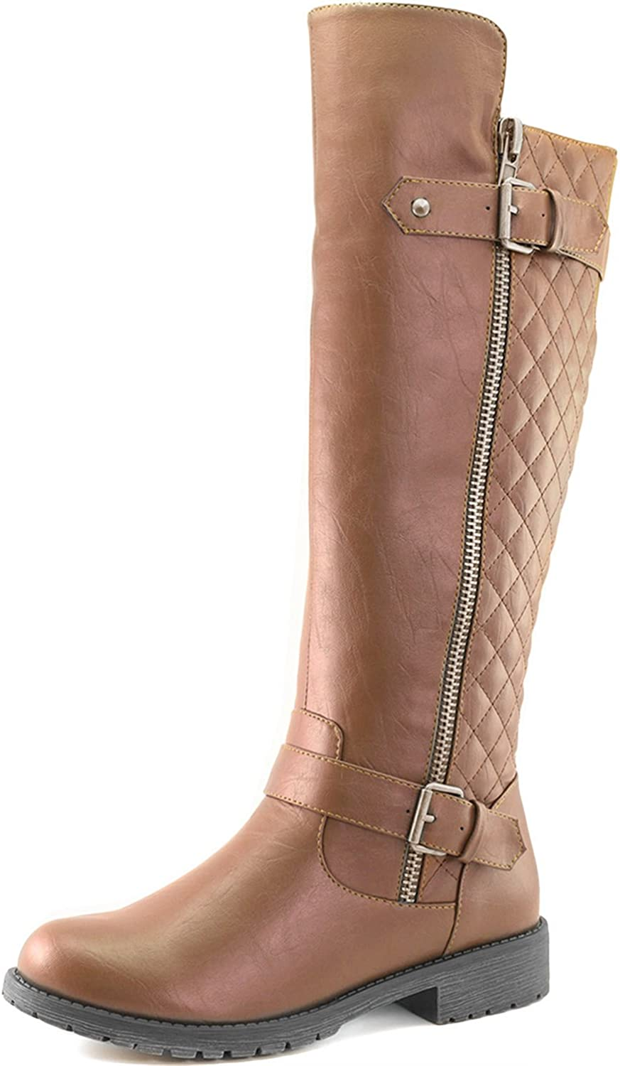 Dailyshoes Women's Quilted Round Toe Combat Rider Knee High with Side Pocket