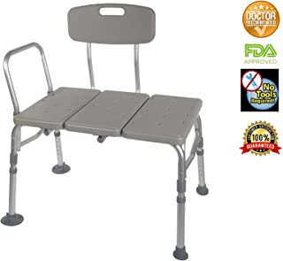 Transfer Bench Adjustable Height Legs, Lightweight Plastic Benches for Bath Tub and Shower with Back Non-slip Seat, Gray