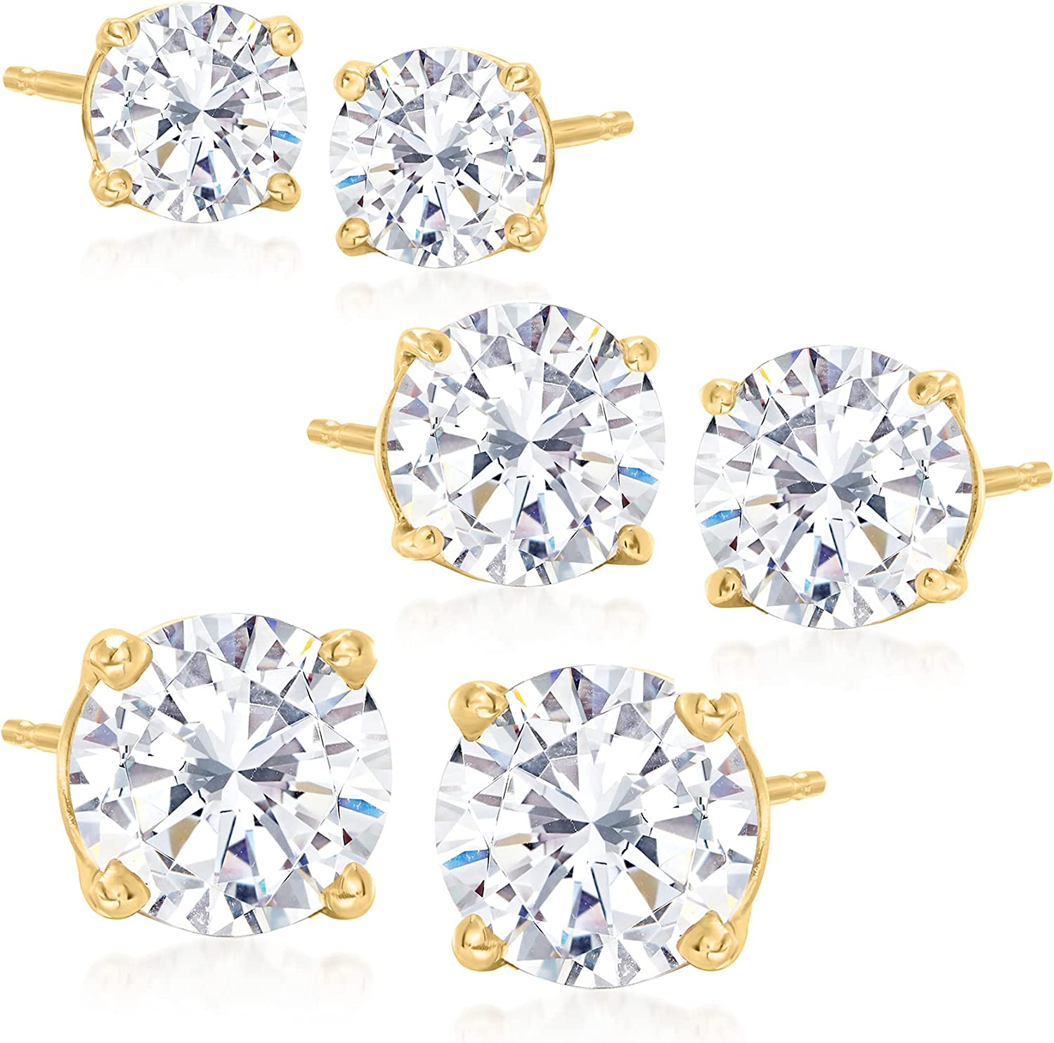 Ross-Simons 6.00 ct. t.w. CZ Jewelry Set: 3 Pairs Of Stud Earrings in 14kt Yellow Gold