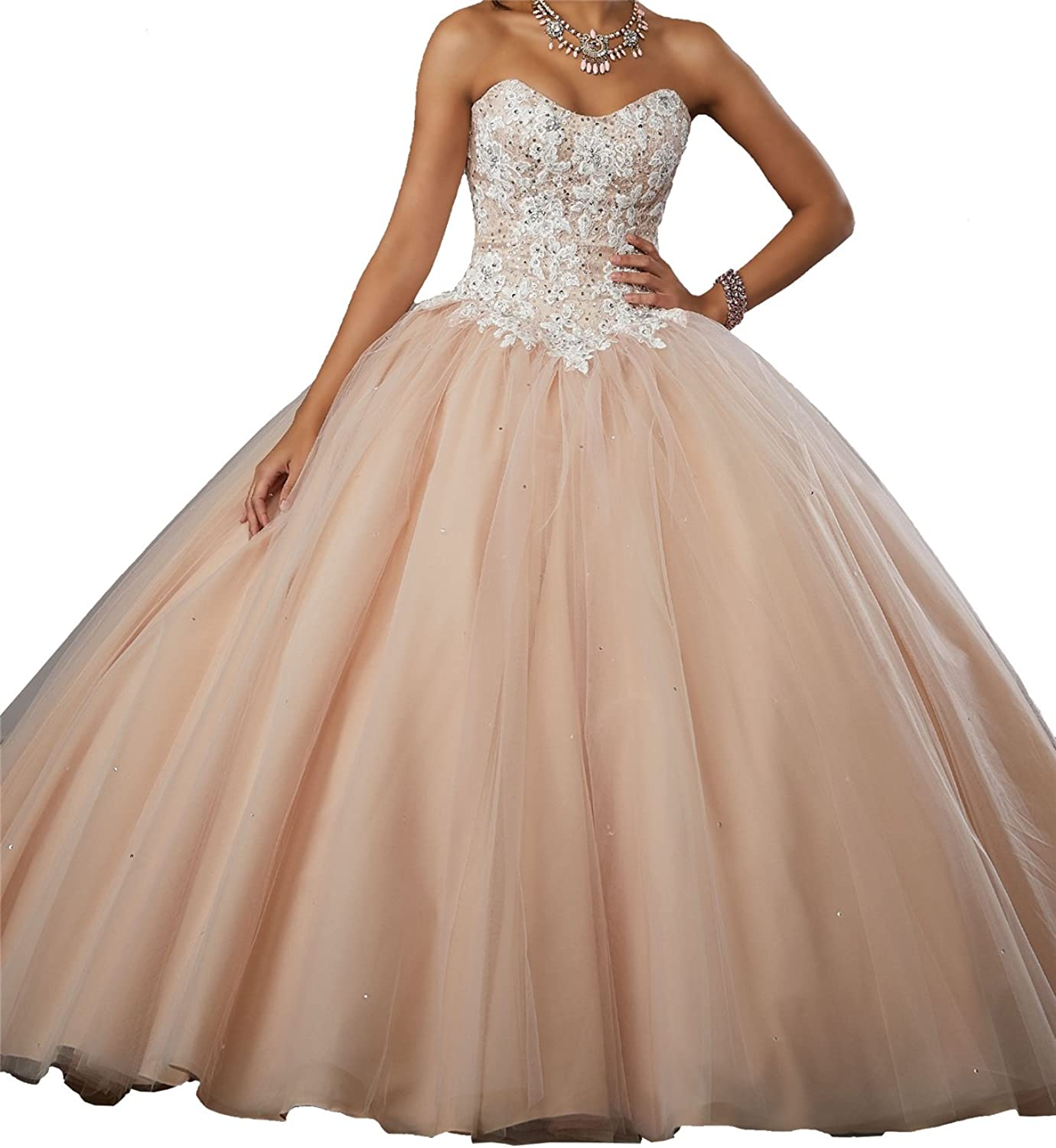 Yang Women Strapless Beaded Tulle Pageant Party Dress Girls Ball Gowns