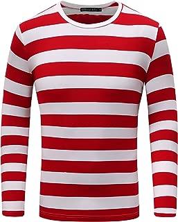 OThread & Co. Men's Long Sleeve Striped T-Shirt Basic Crew Neck Shirts