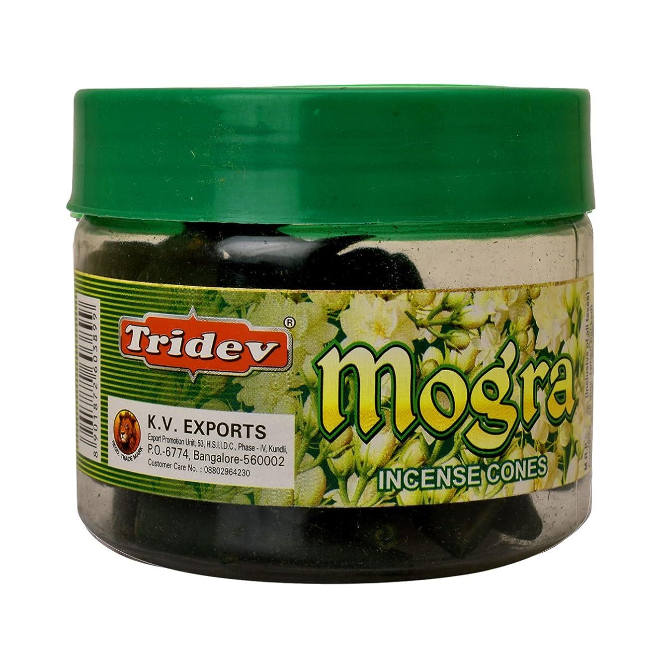 連隊人柄多分Tridev Mogra Incense Cones Jar 90グラムパック