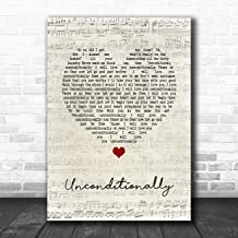 Unconditionally Script Heart Song Lyric Print
