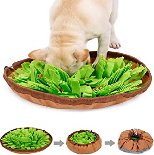 Kingtree Snuffle Mat for Dog Puzzle Toys Pet Feeding Mat Sniffing Training Bowl for Cats Dogs, Durable Interactive Game for Boredom, Encourages Natural Foraging Skills, Drawstring Design Multi-Useful