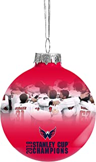 FOCO Washington Capitals 2018 Stanley Cup Champs Glass Ball Christmas Tree Ornament-2 5/8