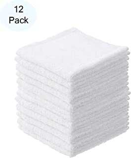 """Superio Terry Towel White Cloths 100% Cotton (12 Pack 6 """") Cleaning Rags Facial Washcloths, Spa Cloths, Cleaning Cloths fo..."""
