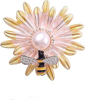 Spilla con fiore antico di design tono incorniciato spilla a forma di perla bianca imitata a cupola per gioielli da festa ...