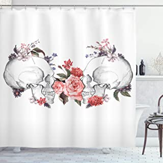 Gothic Shower Curtain by Ambesonne, Blossoming Pastel Toned Roses Traditional Illustration Artsy Print, Fabric Bathroom Decor Set with Hooks, 75 Inches Long, Coral Grey