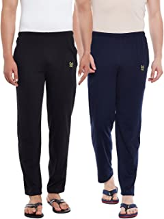 VIMAL JONNEY Solid Men's Black,Navy Blue Track Pants(Pack of 2)