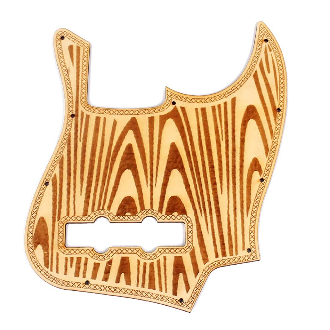 Wood Pickguard Replacement for Jazz Bass 5 String Style Bass Guitar Maple The Wave Pattern Multicolor (Multicolor) z855043692