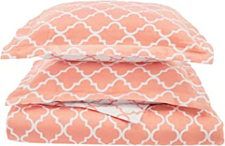 Superior 100% Cotton Trellis Geometric Bedding, 3 Piece Reversible Duvet Cover Set, Soft and Breathable Cotton Bed Set, 300 Thread Count with Hidden Button Closure - Full/Queen, Coral