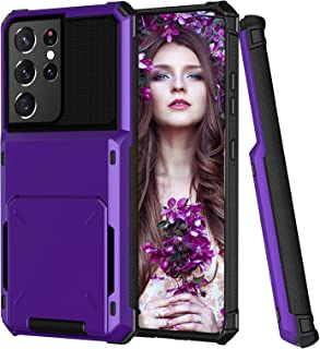 Compatible with Samsung Galaxy S21 Ultra Case Wallet with Credit Card Holder Slot for Women Heavy Duty Shockproof Cover An...