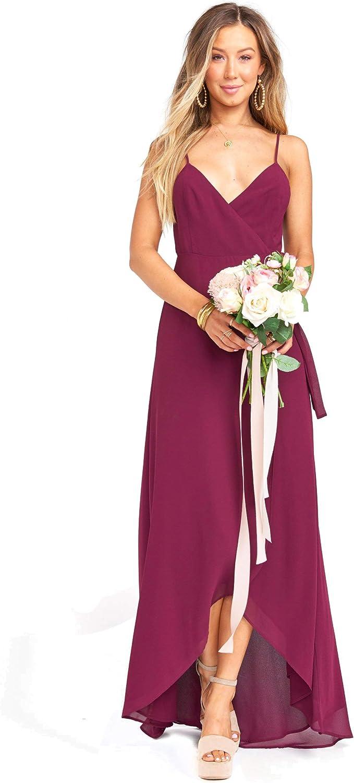 Show Me Your Mumu Mariah Wrap Maxi Dress for Women in Merlot Chiffon, X-Small