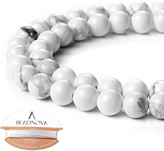 BEADNOVA Natural White Howlite Beads Natural Crystal Beads Stone Gemstone Round Loose Energy Healing Beads with Free Crystal Stretch Cord for Jewelry Making (8mm, 45-48pcs)