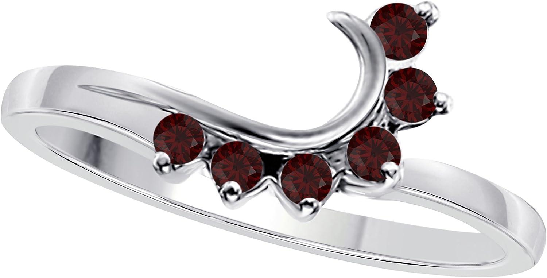 Star Retail 14K White Gold Finish Round CZ Red Garnet Wedding Band Enhancer Guard Double Ring