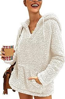 Womens Sherpa Pullover V Neck Fuzzy Fleece Hooded Oversized Sweatshirt with Pockets