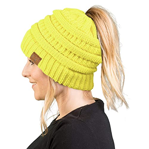 e3d250a00ce Funky Junque Ponytail Messy Bun BeanieTail Women s Beanie Solid Ribbed Hat  Cap