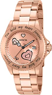 Invicta Women's Angel Quartz Watch with Stainless Steel Strap, Rose Gold, 20 (Model: 14734)