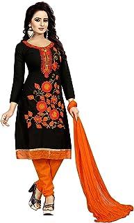 Ethnicset Women's Cotton Unstitched Salwar Suit (whale-black-E_Black_Free Size)