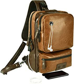 Men Sling Bag Fit 13-Inch Laptop Cross Body PU Leather Daybag Chest Pack Satchel Shoulder Travel Cycling Large Capacity Backpack with USB Charging Port