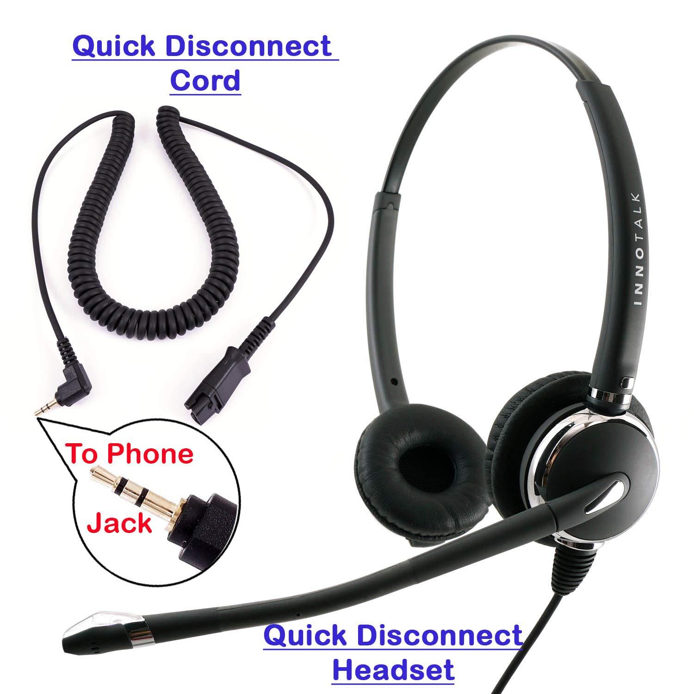 Amazon Com 2 5mm Phone Telephone Headset Best Pro Noise Cancel Binaural Office Headset For Polycom Cisco Panasonic Vtech Uniden Grandstream And Cordless Dect Phones Compatible With Plantronics Qd Electronics