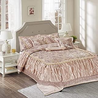 Tache 6 Piece Beige Roses Sequin Ruffled Elegant Chic Victorian Warm Decorative Comforter Bedding Set, Queen
