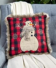 The Lakeside Collection 14 Faux Fur Trimmed Plaid Pillows - Snowman