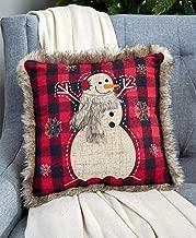 The Lakeside Collection 14 Faux Fur Trimmed Plaid Pillows - Snowman