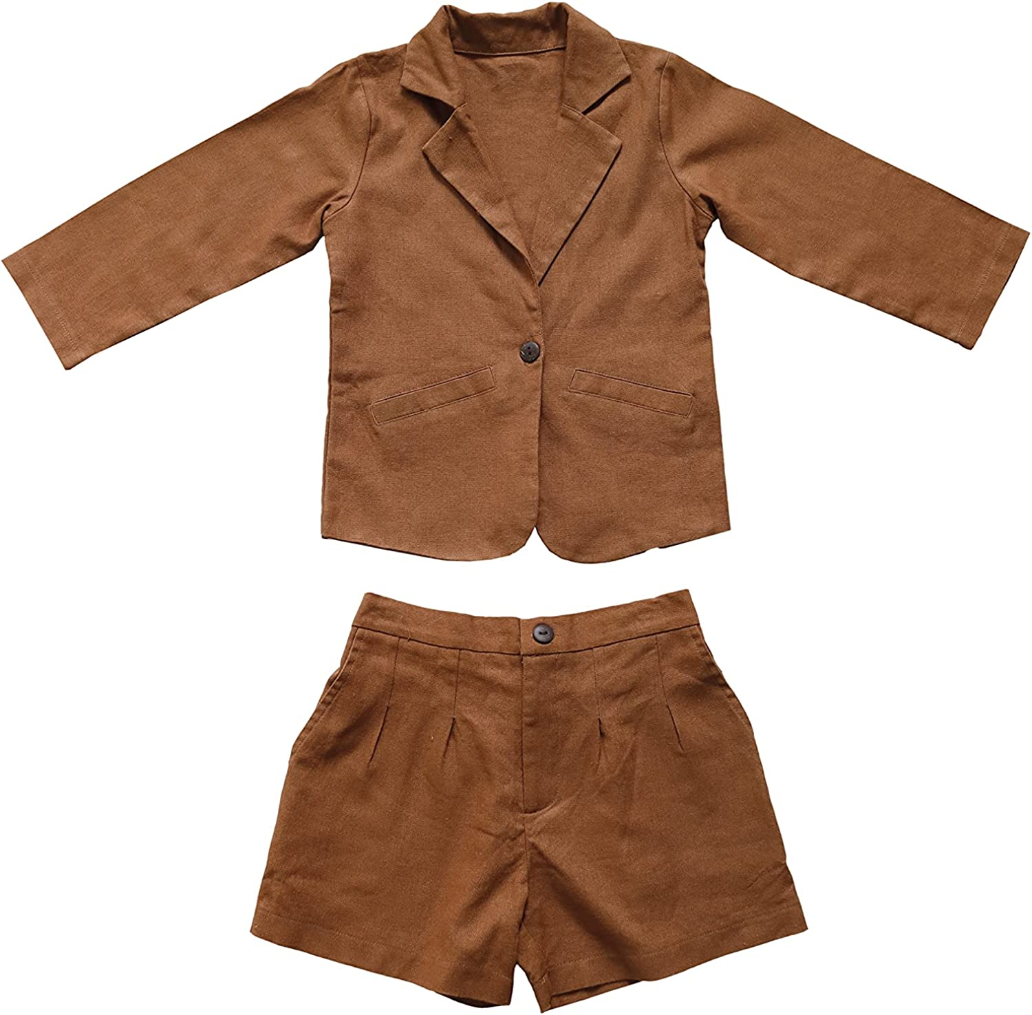 HANDCRAFTED BY UYEN Baby Boy Suit Toddler Boy's Vest Set Cute Long Sleeve and Short Outfits