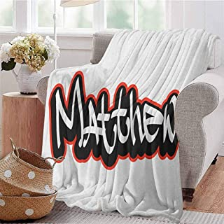 Luoiaax Matthew Bedding Microfiber Blanket Font Design Inspired by Hip-hop Culture and Street Art Name for Men Super Soft and Comfortable Luxury Bed Blanket W70 x L70 Inch Vermilion Black and White
