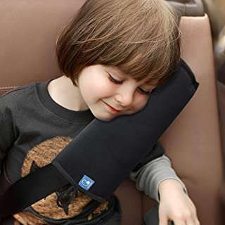 (Black) - COOLBEBE Seat Belt Pillow for Kids, Extra Soft Support Travel Pillow for Head Neck and Shoulder in Car, Universa...