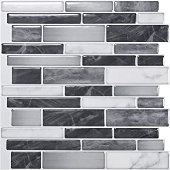 "Art3d 10-Sheet Self-Adhesive Tile Backsplash for Kitchen, Vinyl Decorative Tiles, 12""x12"""