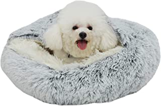 Rainlin Pet Bed- Round Soft Plush Burrowing Cave Hooded Cat Bed Donut for Dogs & Cats, Faux Fur Cuddler Round Comfortable ...