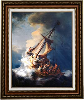 Eliteart-Christ in a Storm on The Sea of Galilee by The Dutch Golden Age Painter Rembrandt Van Rijn Oil Painting Reproduction Giclee Wall Art Canvas Prints-Framed